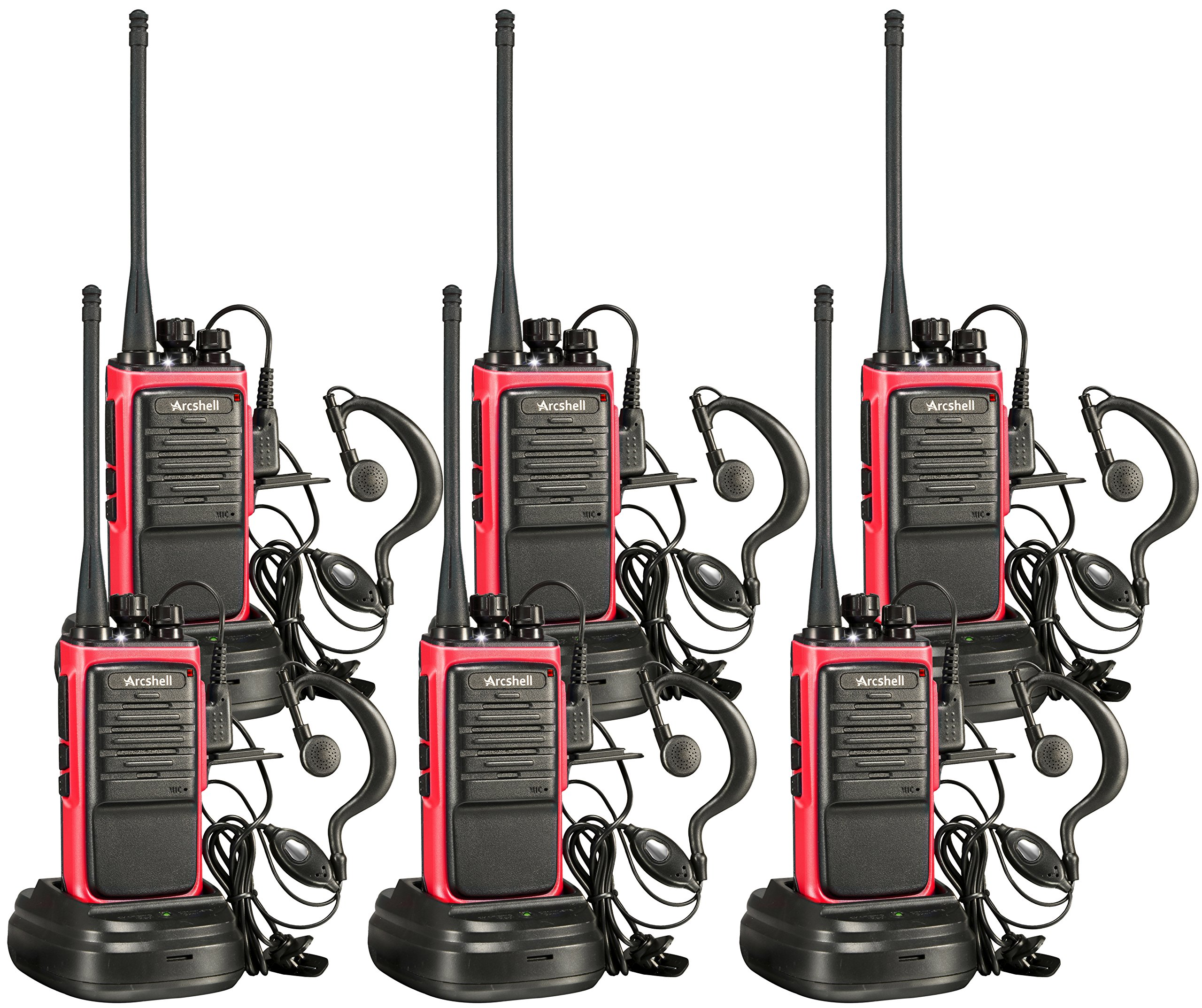 Arcshell Rechargeable Long Range Two-Way Radios with Earpiece 6 Pack Walkie Talkies UHF 400-470Mhz Li-ion Battery and Charger Included by Arcshell