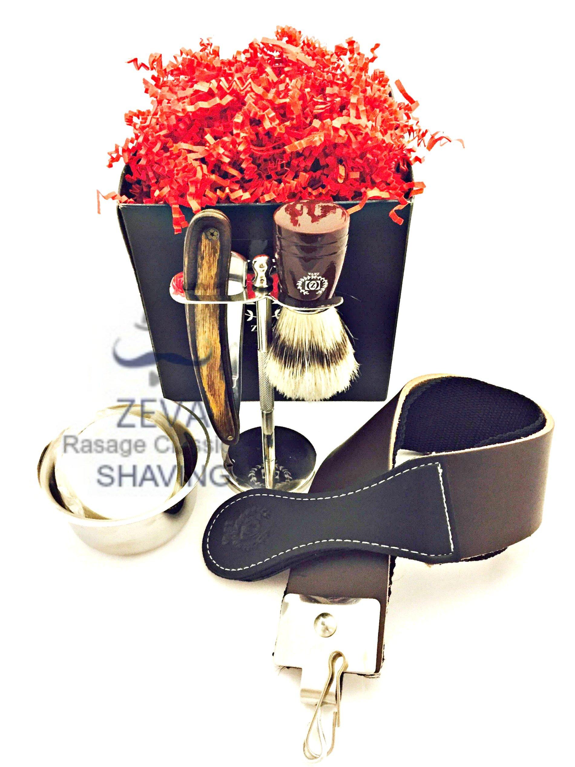 Straight Razor Cut Throat Shavette Mens Shaving Classic Shave -Comes in Gift Box- Men Grooming Shaving kit High Quality Stainless Steel Razor Leather Strap / Strop for Straight razor honing sharpening