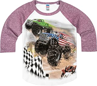 product image for Shirts That Go Little Boys' Monster Trucks Racing Raglan T-Shirt