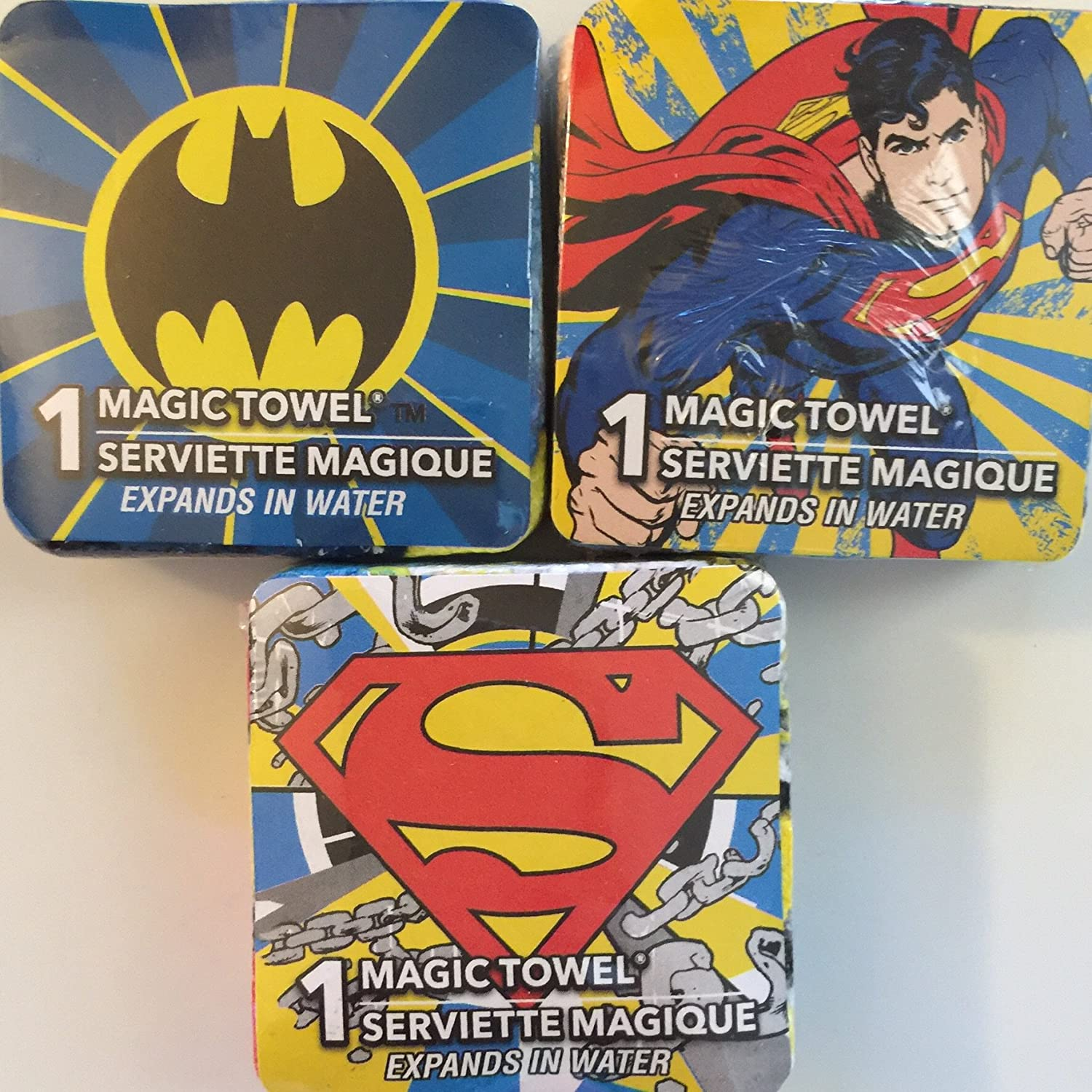 "Superman Magic Towels Set of 3 Washcloths 12/"" x 12/"""
