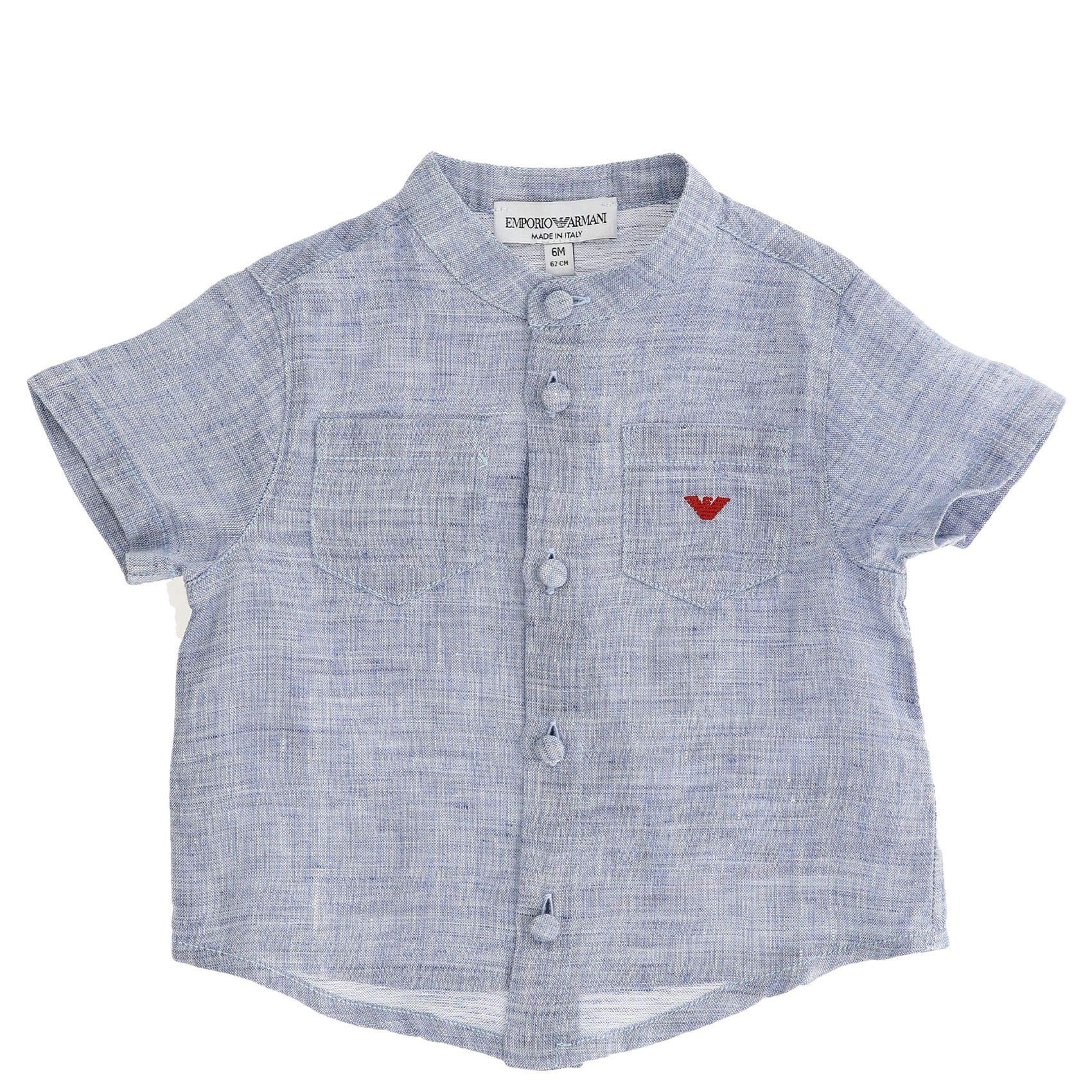Emporio Armani Luxury Fashion Baby-Boys Shirt Summer Light Blue by Emporio Armani