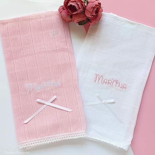 Pack 2 gasas algodón con nombre del bebé: Amazon.es: Handmade