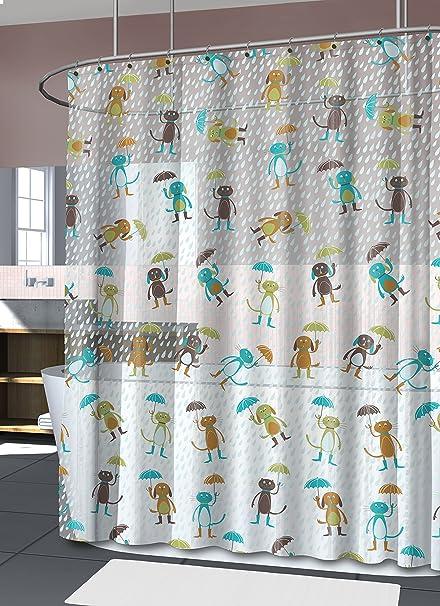 Amazon Splash Home Peva 4G Cats Dogs Shower Curtain Liner