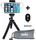 DaVoice Flexible iPhone Tripod Horizontal Vertical for Smartphone with Bluetooth Remote Control iPhone 7 6S 6 SE 5S 5C 5 4s 4 Samsung Galaxy S8 S7 S6 S5 S4 S3 S2 - Mini Cell Phone Tripod Stand Adapter