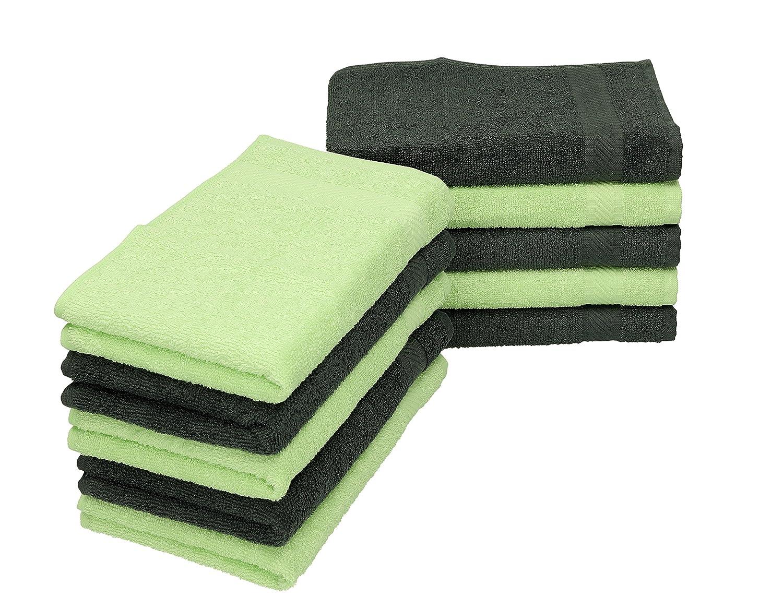 BETZ 10 Lavette salvietta Asciugamano per Il Bidet Palermo 100/% Cotone Misure 30 x 30 cm Colore Grigio Antracite e Verde