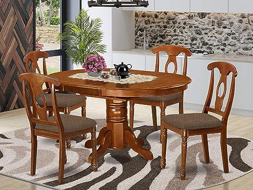 East-West Furniture AVNA5-SBR-C dinette table set