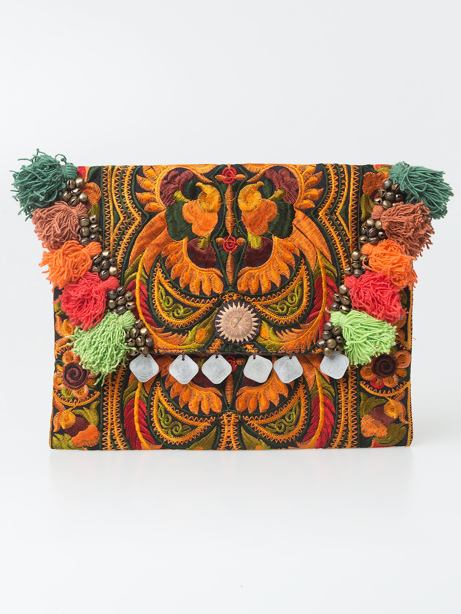Changnoi Orange Bird Boho Clutch Hmong Embroidered Handmade Fair Trade Thailand