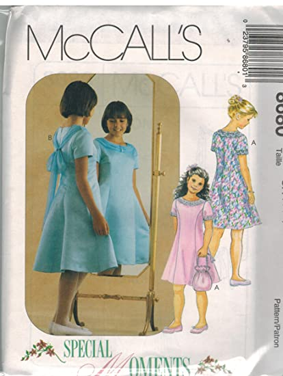 Amazon 8680 Mccalls Sewing Pattern Girls Fit And Flare Dress
