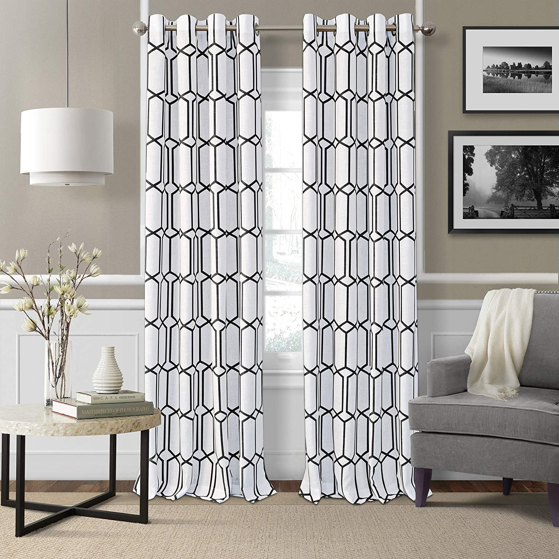 "Elrene Home Fashions Kaiden Geometric Room Darkening Window Curtain Panel, 52"" W x 84"" L (1, Black"