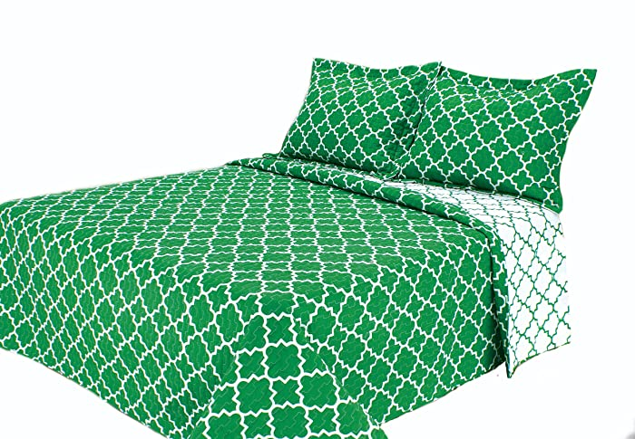 Eileen West Lattice by Melange Home Super Soft Quilt Set, Twin, Green