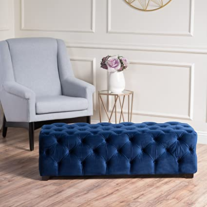 Merveilleux Great Deal Furniture 298425 Provence Navy Blue Tufted Velvet Fabric  Rectangle Ottoman Bench
