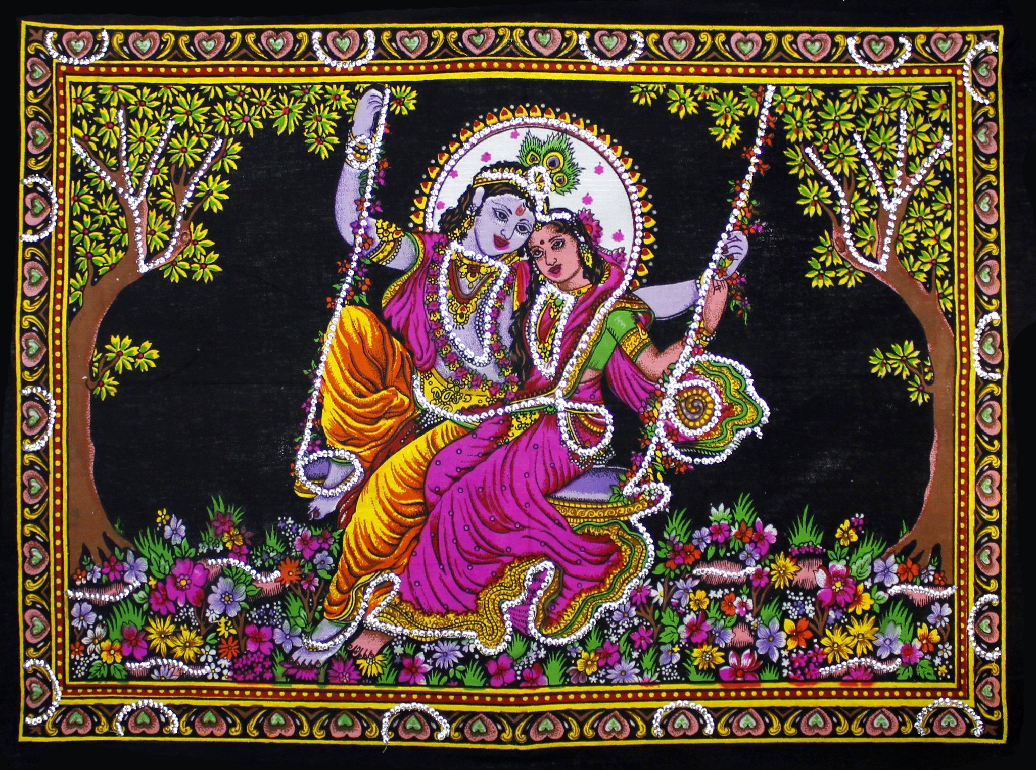 Lord Krishna & Goddess Radha Sequin Sitara Batik Cotton Wall Tapestry 22'' X 16'' (Small)