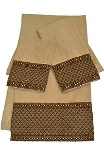 sherry kline amore 3 piece decorative towel set wheatbrown - Decorative Towels