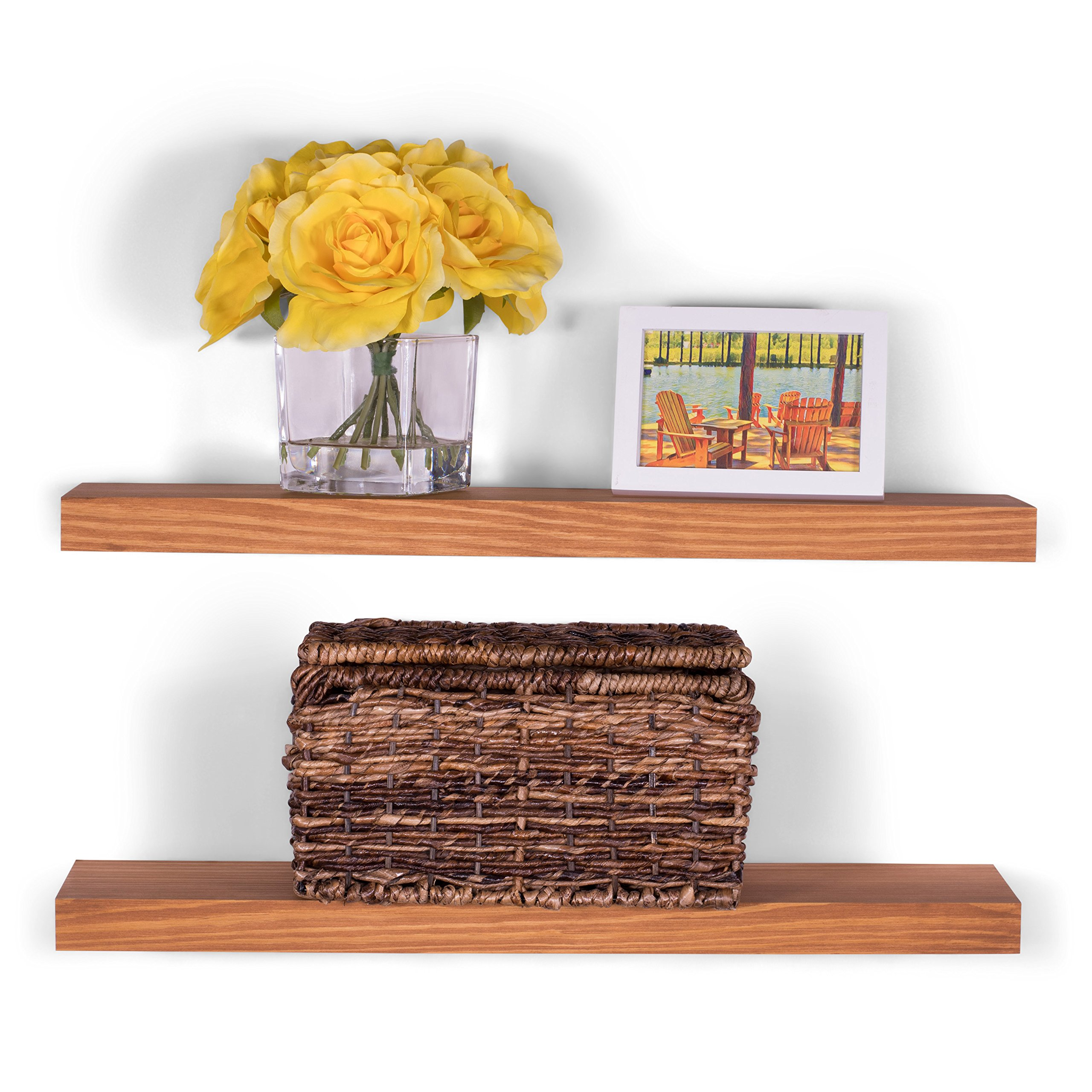 DAKODA LOVE 5.25'' Deep Clean Edge Floating Shelves, USA Handmade, Clear Coat Finish, 100% Countersunk Hidden Floating Shelf Brackets, Beautiful Grain Pine Wood Wall Decor (Set of 2) (24'', Autumn)