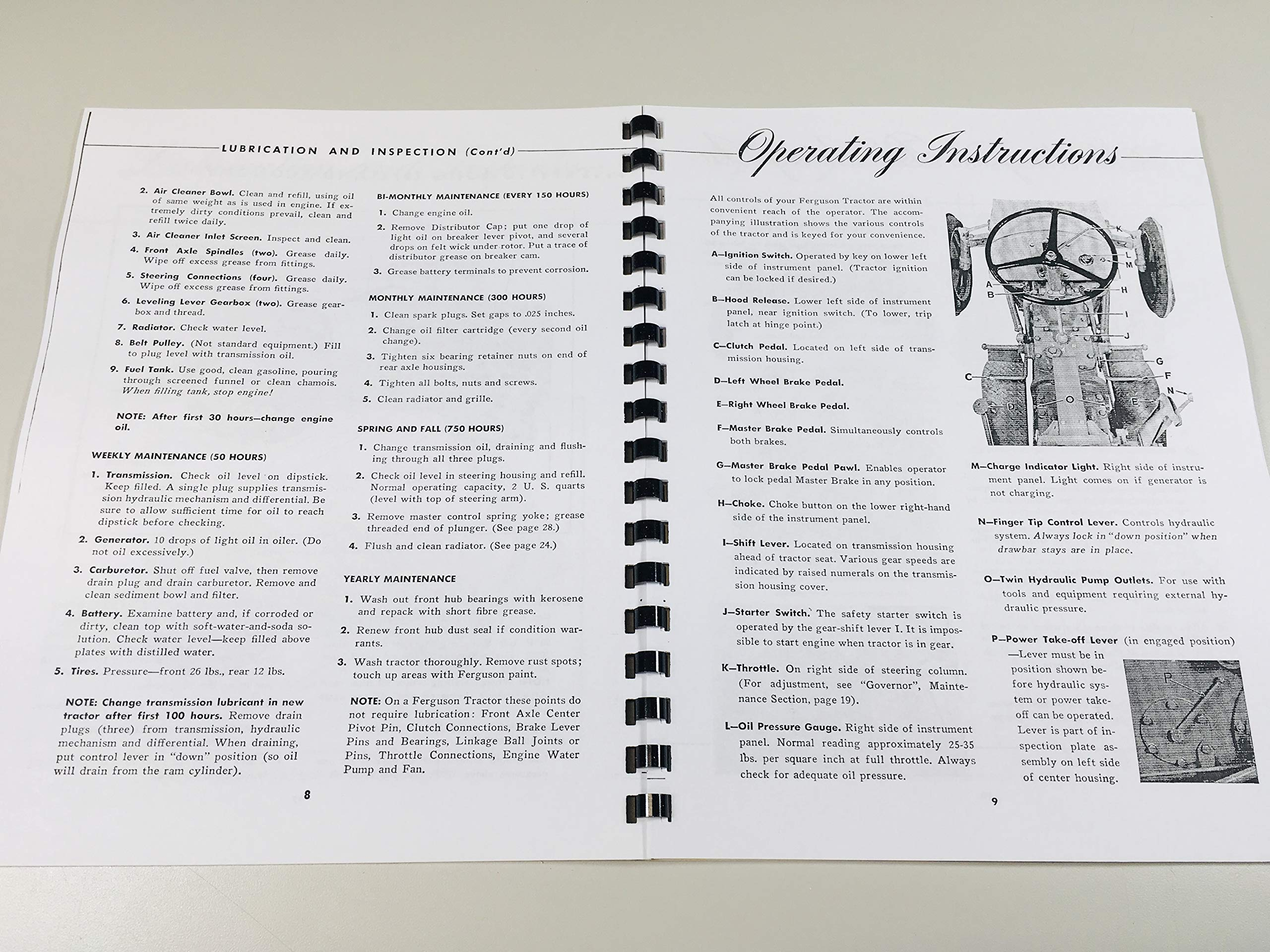 FERGUSON TO-20 FARM TRACTOR OWNERS INSTRUCTION & OPERATING