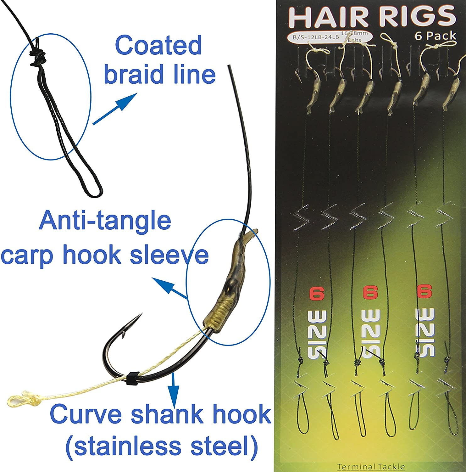 Details about  /6pcs Useful Hair Rigs Barbless Size 6 8 10 Carp Fishing Rigs Tackle Braid G