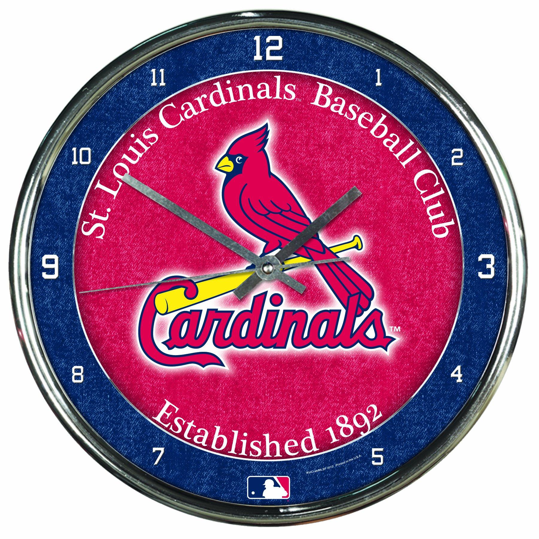 MLB St. Louis Cardinals Chrome Clock, 12'' x 12'' by WinCraft