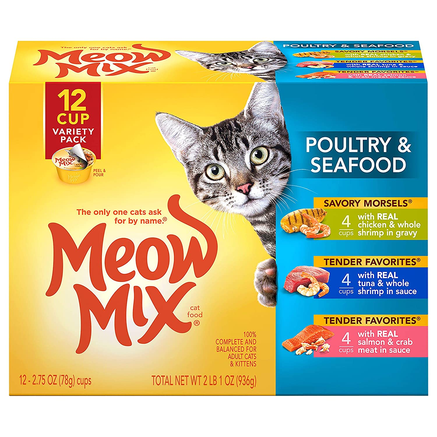 Meow Mix Poultry and Seafood Wet Cat Food, Variety Pack, 2.75 Ounce Cup (Pack of 12)