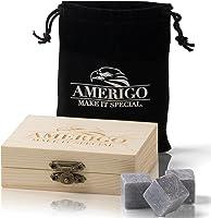 Premium Whisky Stones Gift Set de Amerigo- ¿Aguar tu Whisky? ¡Nunca más! Juego de 9 Piedras Whisky - Empaquetado en un Exclusivo set de Regalo - Cubitos de Hielo Reutilizables - Gratis EBOOK