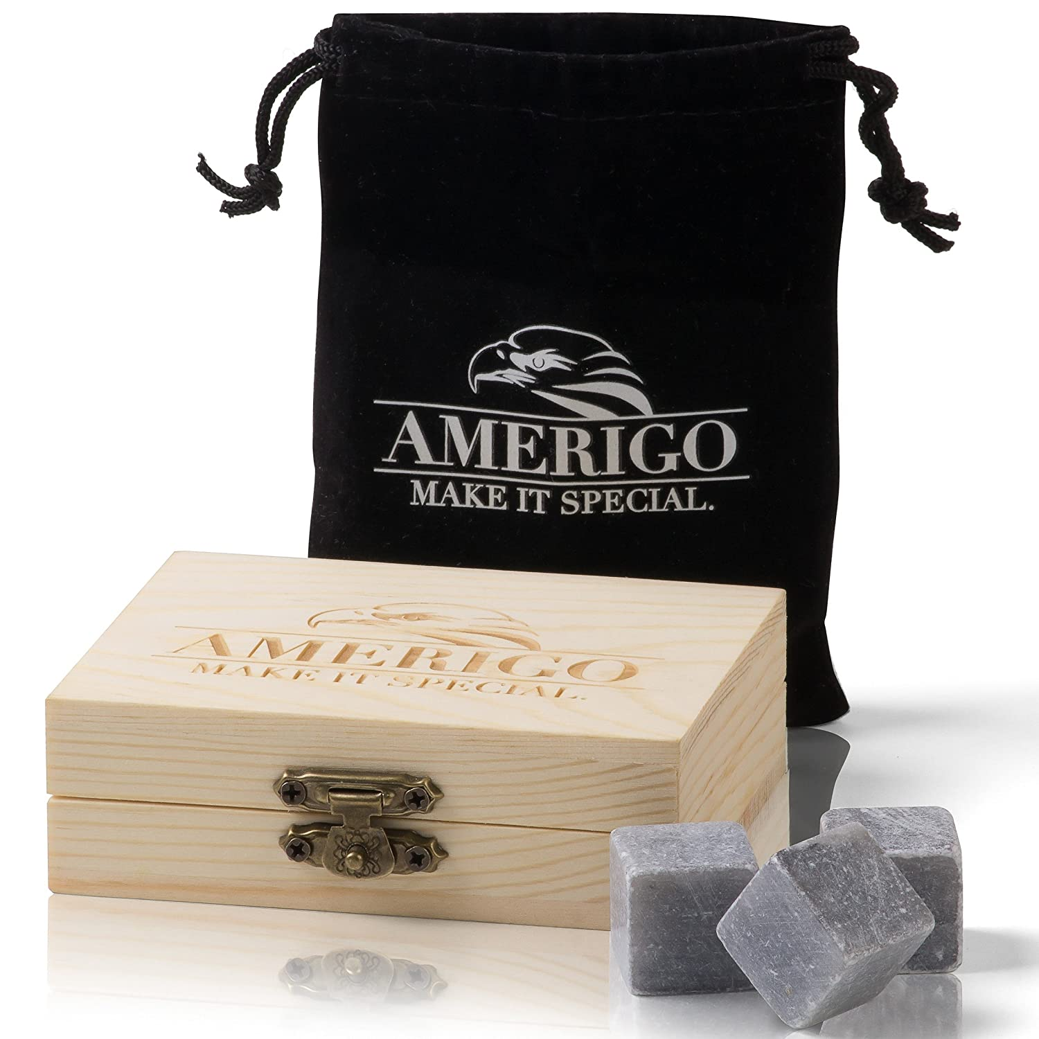 Premium Whiskey Stones Gift Set - Water Down Your Whisky? Never Again! Set of 9 Whiskey Rocks - Ice Cubes Reusable in Exclusive Wooden Gift Set - Whiskey Gifts for Man - Chilling Stones + FREE EBOOK Amerigo