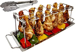 MamAnya's Useful Things Chicken Leg Wing Rack Stainless Steel for Grill Smoker or Oven with Food Tongs and Drip Pan for Vegetables Collapsible Dishwasher Safe Non-Toxic Barbecue Roaster Stand
