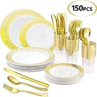 150-Pieces Jenya Golden Disposable Plastic Tableware Set