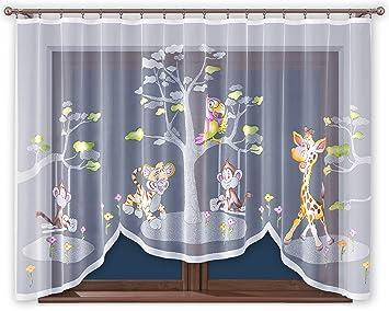 Promag Vorhang Gardine mit Kräuselband Kinderzimmer Kindergardine Junge  Weiß 300 cm Extra Breit Dschungel Motiv Scheibengardine Kurzgardine ...