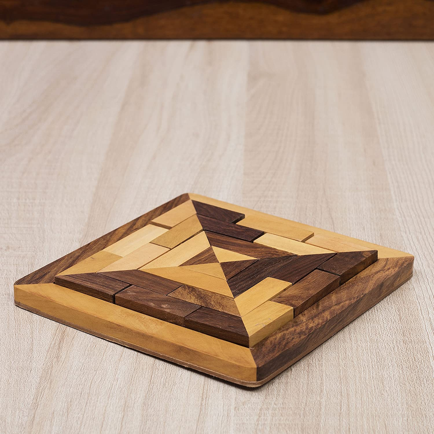 Wooden Tangram Puzzle for Kids /& Adults Brain Teaser 5.1 by 5.1 inches