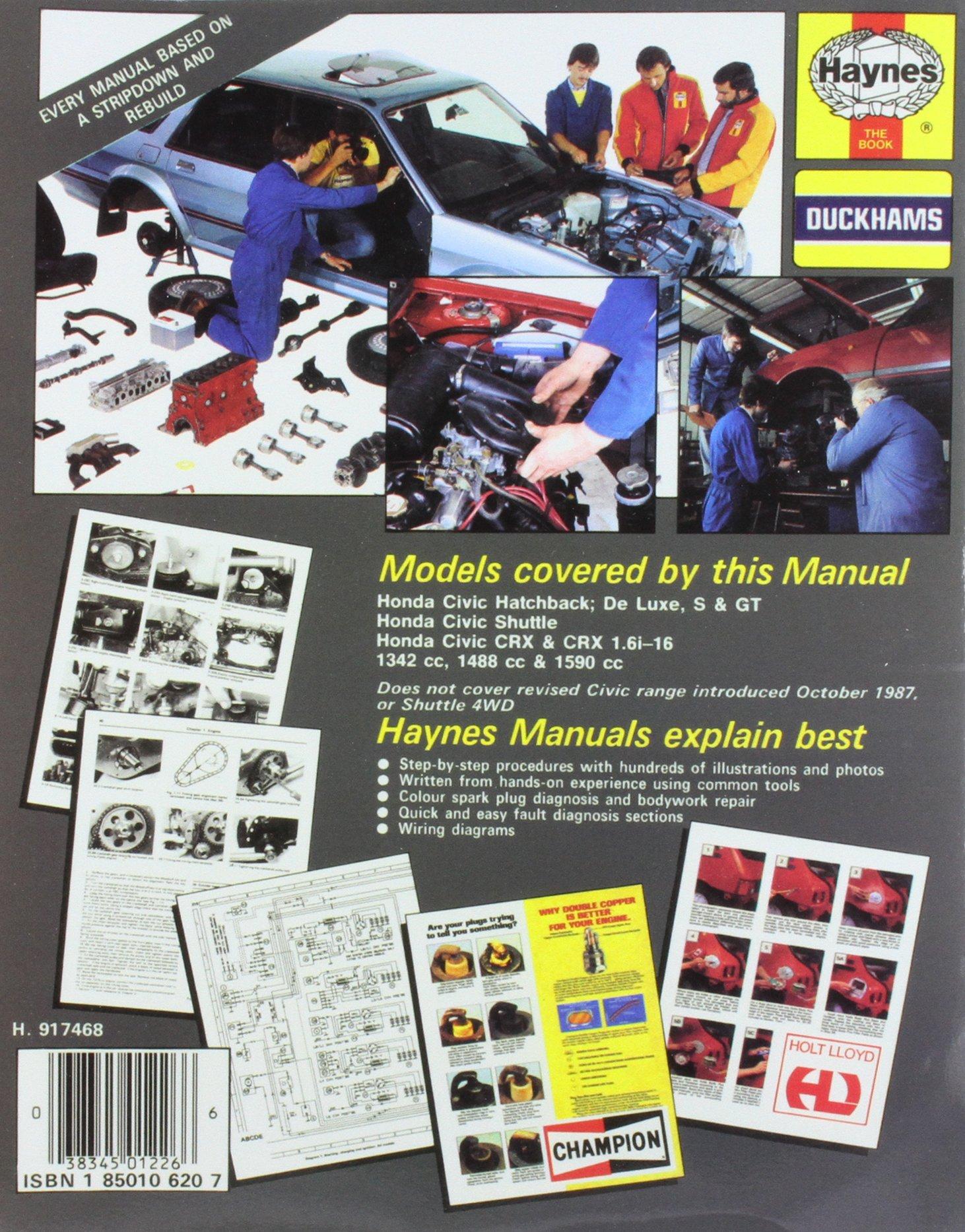 Honda Civic (Feb 84 - Oct 87) A To E (Service & Repair Manuals): Haynes  Publishing: 9781850106203: Amazon.com: Books