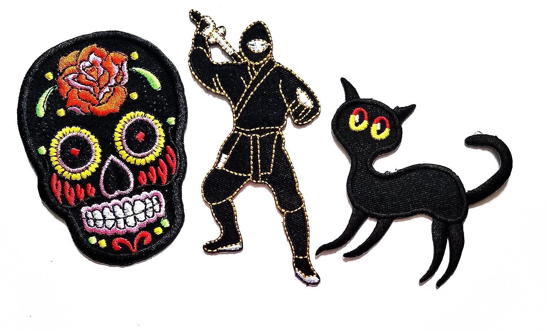 Amazon.com: Nipitshop Patches Set 3 Black Skull Sugar ...