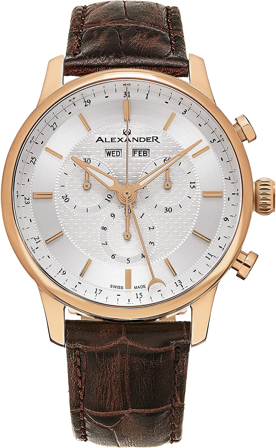Alexander Statesman Chieftain Wrist Watch for Men – Brown Leather Analog Swiss Watch – Stainless Steel Plated Rose Gold Watch – Silver Dial Day Date Month Mens Chronograph Watch A101-05