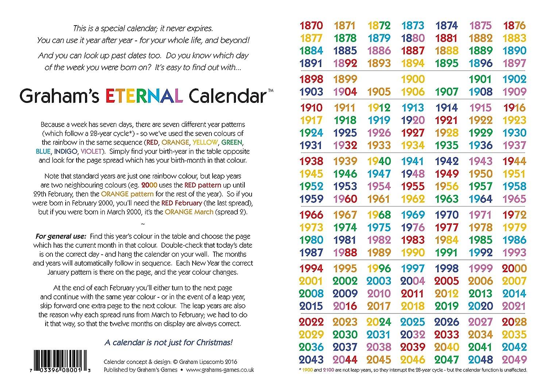 Graham S Eternal Calendar Perpetual Year Planner Endless Date
