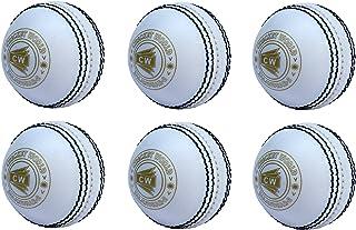 CW Lot de 6Spin Poly tous les sports Blanc Balle de cricket en PVC Souple adapté pour General et Pratiquer de formation, Coaching Cricket World