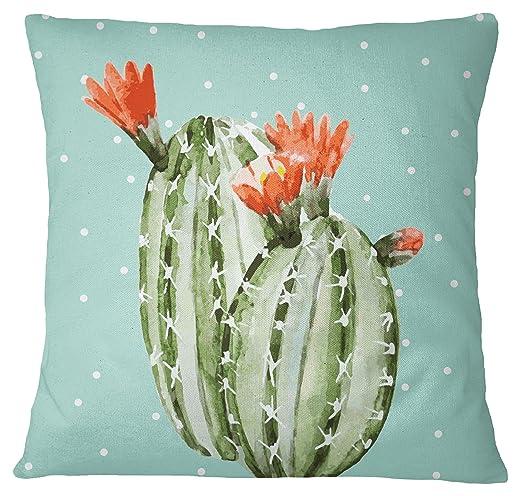 S4Sassy Cactus decorativo Imprimir Plaza Dusty Green Cojín ...