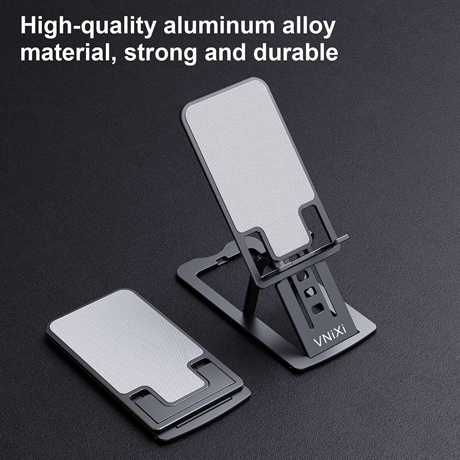 Solid Aluminum Alloy Deep Gray VNiXi Cell Phone Stand,Portable Ultra thin Adjustable 7-Level Folding Mobile Phone Holder Compatible with Phone 11 12 Pro Xs Xs Max Xr X 8 7 6 6s Plus// iPad // Kindle