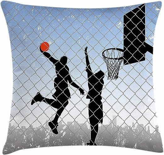 Funda de cojín para habitación de niño, diseño de baloncesto en la ...
