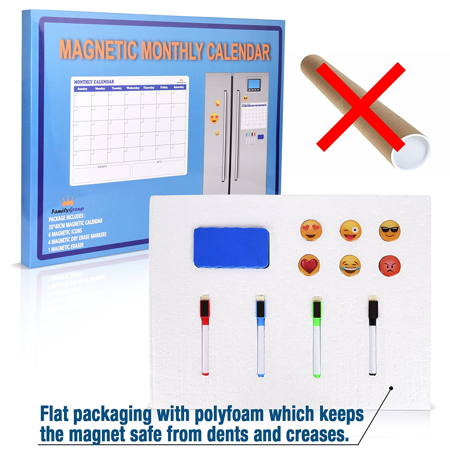 Magnetic Monthly Calendar For Refrigerator : Dry erase monthly calendar planner whiteboard for non magnetic