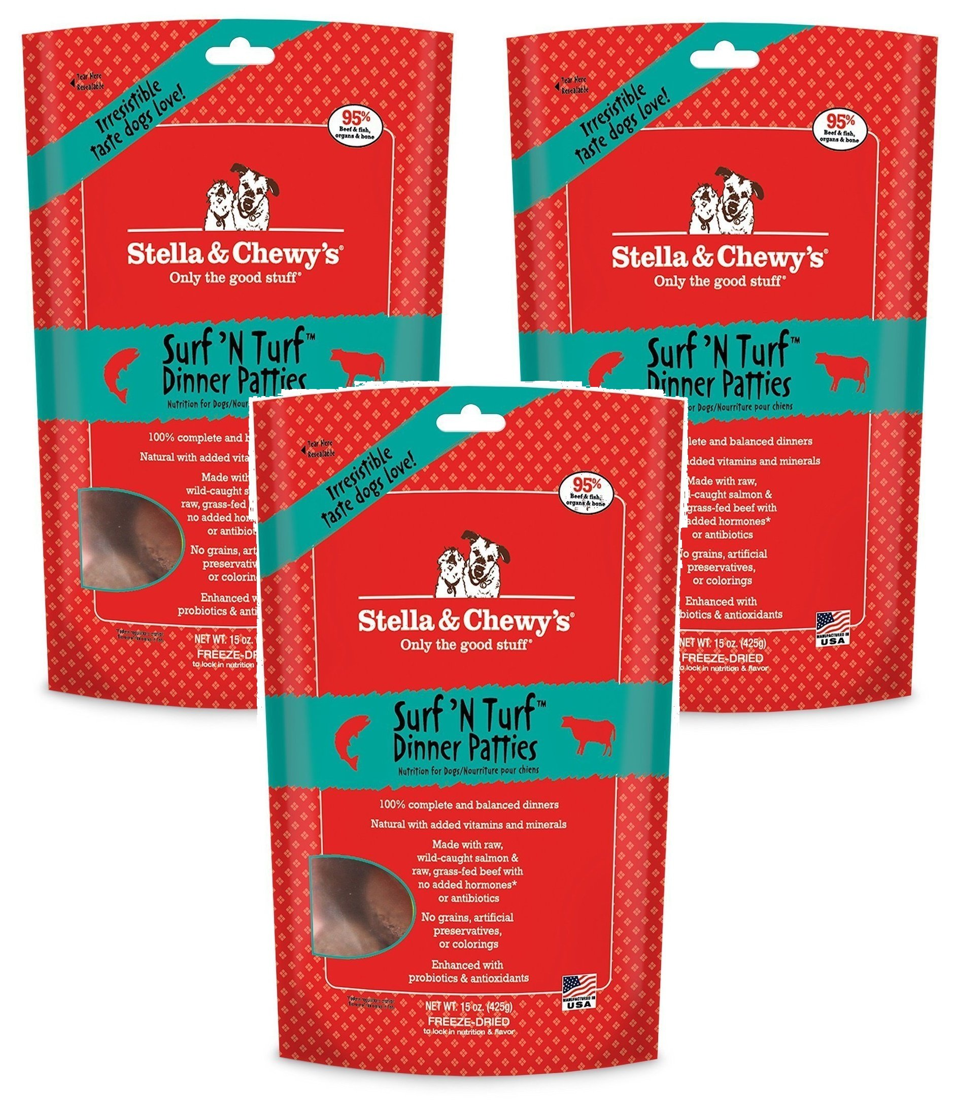 Stella & Chewy's Freeze Dried Surf & Turf (Beef and Salmon) Dinner for Dogs, 15 ounce (3 Pack)
