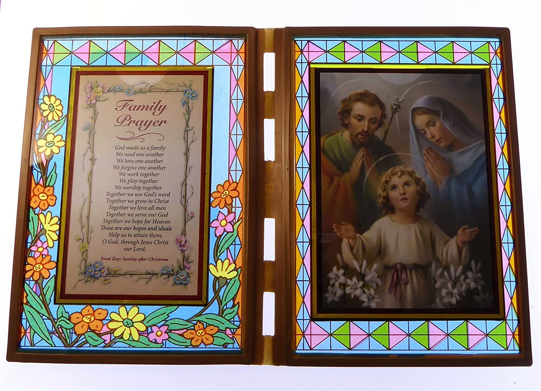 Stained Glas Doppel Holzrahmen Mit Familie Gebet Heilig Familie