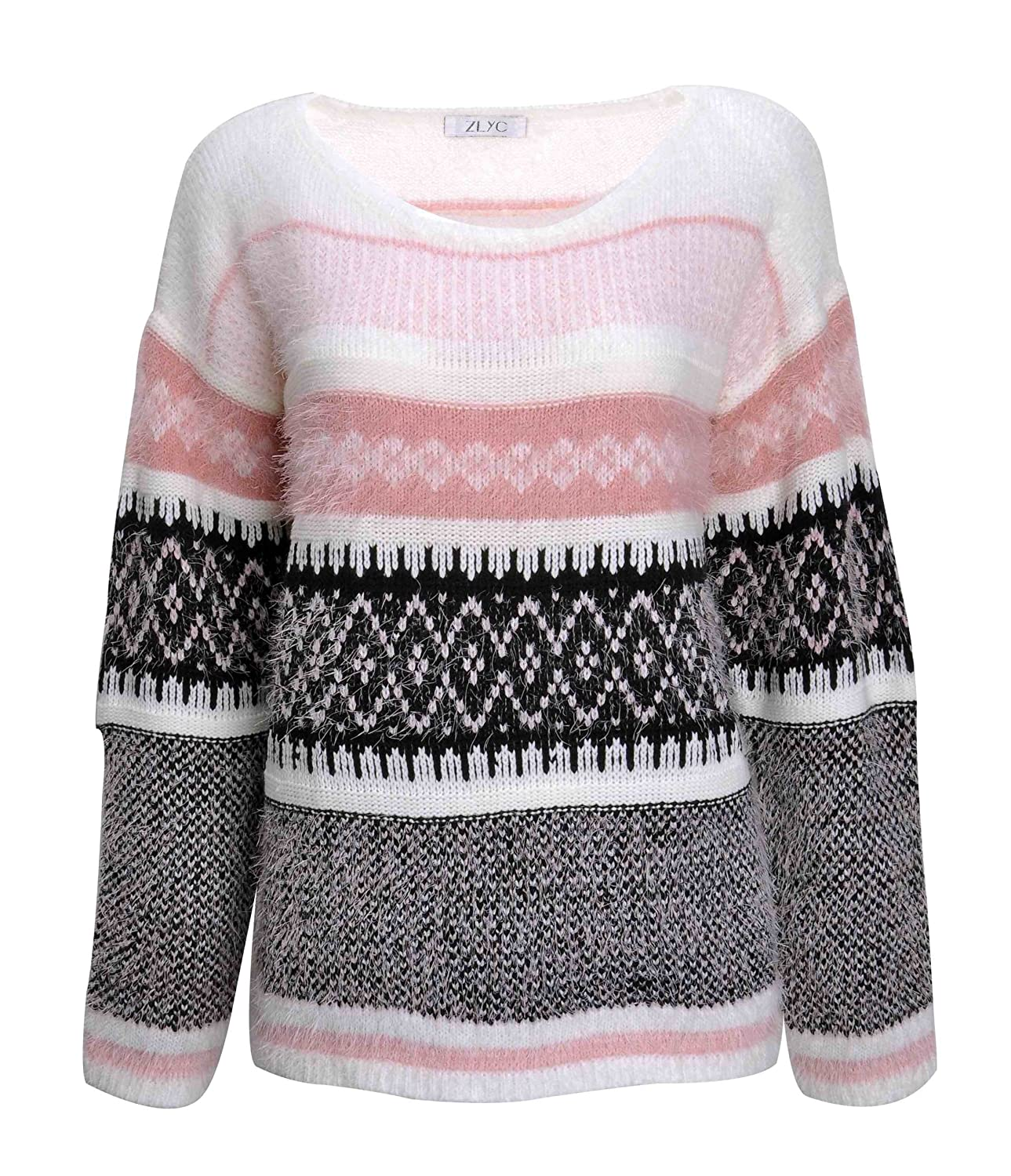 ZLYC Women Fluffy Aztec Space Dye Knitted Pullover Jumper Geometric Casual Sweater