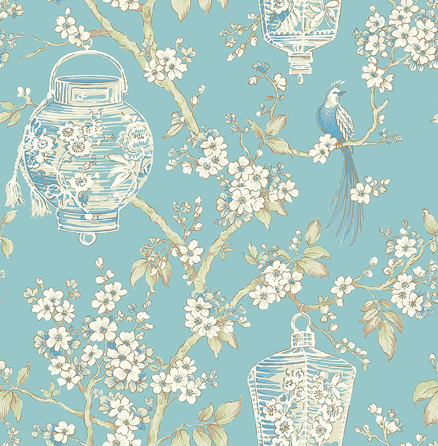 A Street Prints 2702 22759 Serenity Turquoise Lanterns Wallpaper
