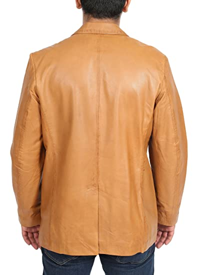 House of Leather Mens Leather Classic Blazer Suit Jacket Three Button Notched Lapel Carter Tan at Amazon Mens Clothing store: