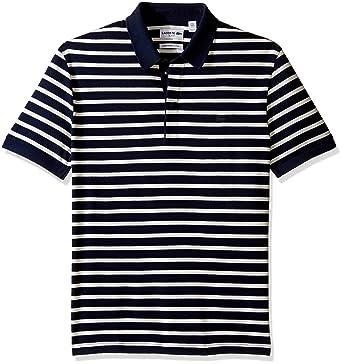 99fdad1e Lacoste Men's Short Sleeve Stripe Mini Pique Slim Fit Polo, Navy Blue/Flour  Small