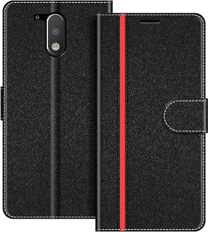 COODIO Funda Motorola Moto G4 con Tapa, Funda Movil Motorola Moto G4 Plus, Funda Libro Motorola Moto G4 Carcasa Magnético Funda para Motorola Moto G4 / Moto G4 Plus, Negro/Rojo: Amazon.es: Electrónica
