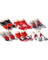 Disney Womens Mickey Mouse and Friends Ankle-No Show Socks 6 Pair Pack