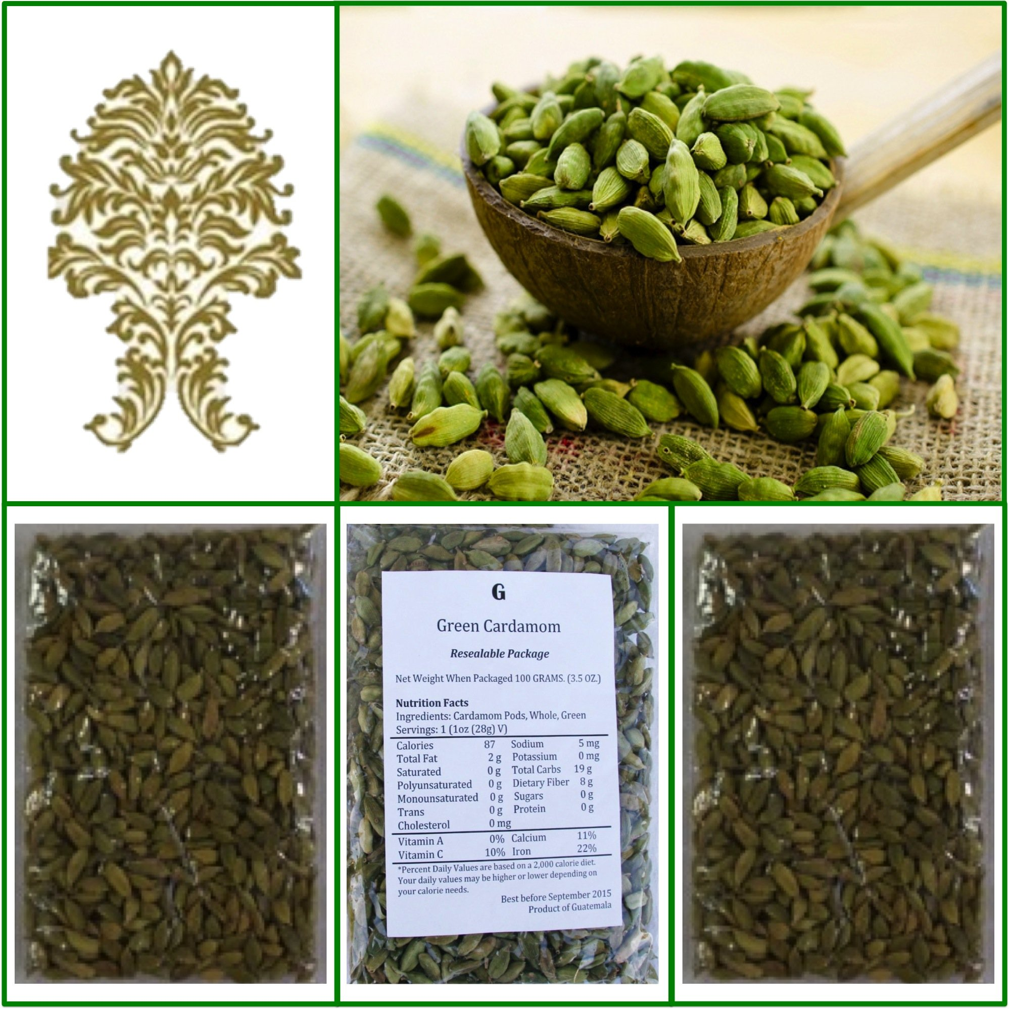 Natural Green Whole Cardamom Pods (elaichi, elachi, hal) - 10.5 Oz, 300g.