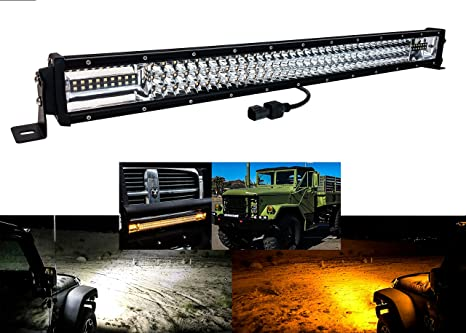 30 Amber White Dual Color Changing Led Light Bar Harness Anti Theft Security Bolt Strobe Flashing Emergency Driving Fog Spot Light Offroad Suv Truck