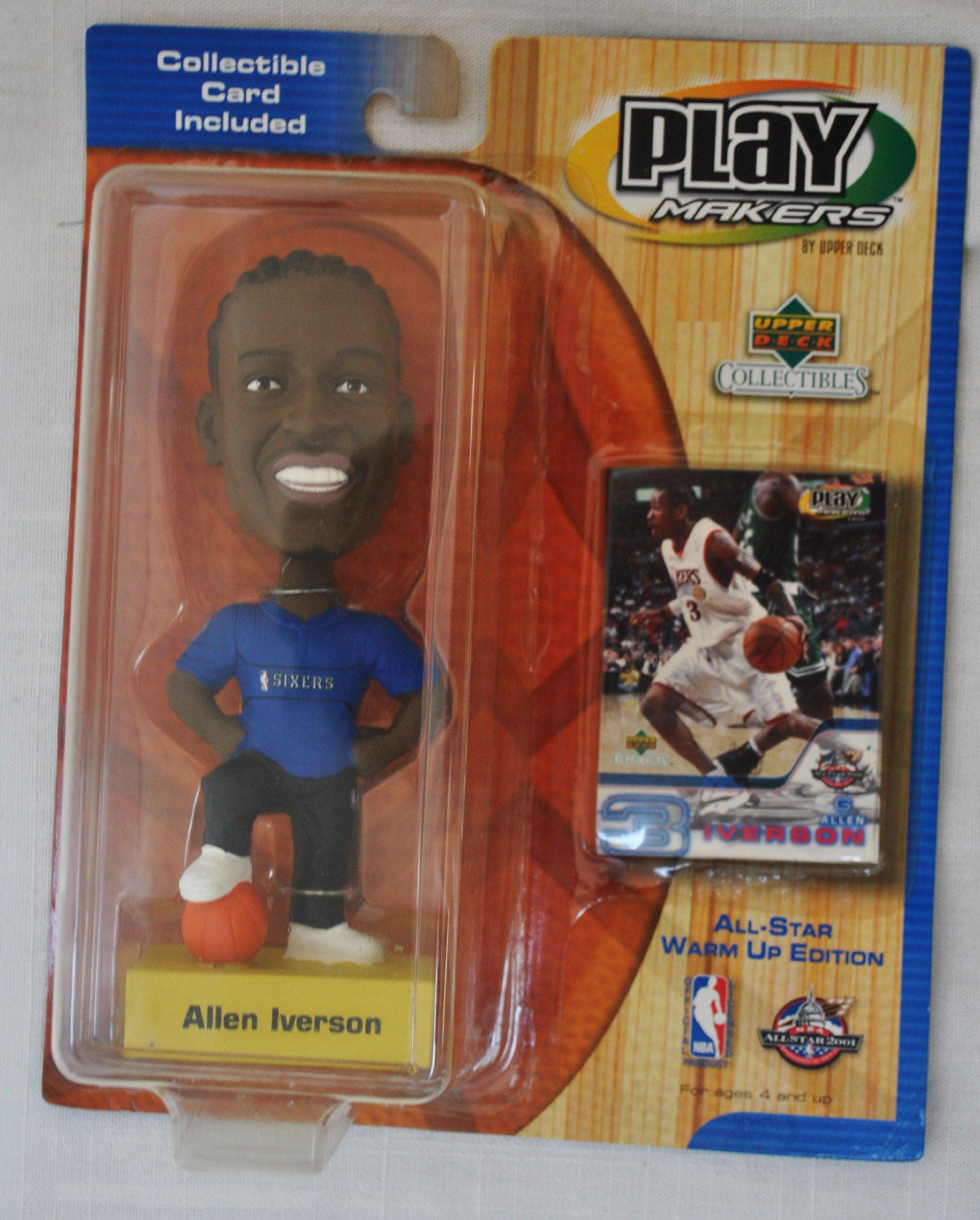 Philadelphia 76ers star #3 Allen Iverson official NBA Upper Deck Playmakers Bobble card set Bobblehead by Upper Deck