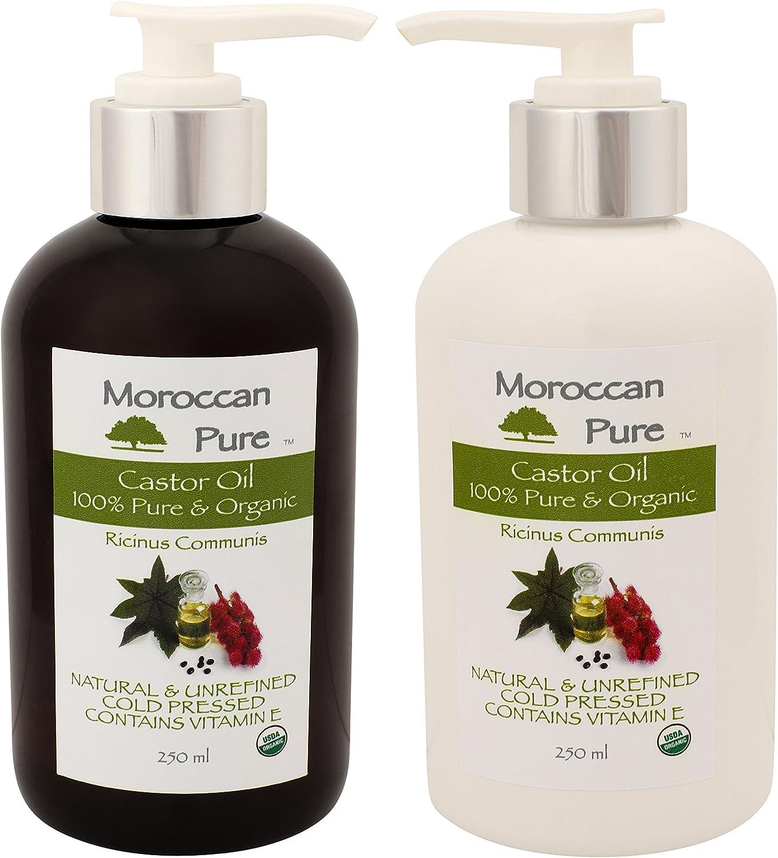 Puro Marroquí Orgánico Natural 100% aceite de ricino aceite de masaje y Humectante – 100% prensado en frío para pelo, crecimiento del cabello y tratamiento. Piel de pelo, pestañas – Tratamiento para