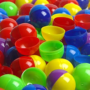 Vending Machine Capsules in Bulk - 50 Pcs Toy Capsules - Assorted Colors 1.3 Inches Oval Plastic Capsules - Prize Container Vending Capsule - Plastic Party Favor Containers